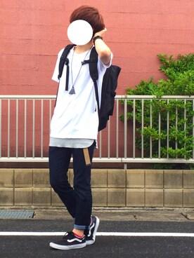 KaiToさんの「MEN ドライカラークルーネックT(半袖)(ユニクロ)」を使ったコーディネート