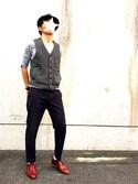 SHOJIさんの「BY TR ストレッチ ノープリーツ アンクルパンツ◆(BEAUTY&YOUTH UNITED ARROWS|ビューティアンドユースユナイテッドアローズ)」を使ったコーディネート