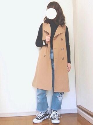 Reiさんの「WOMEN エクストラファインメリノタートルネックセーター(長袖)(ユニクロ|ユニクロ)」を使ったコーディネート