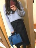 """☺︎ m i n a ☺︎ is wearing ユニクロ """"ハイウエストベルテッドナロースカート(丈短め64~66cm)+EC"""""""
