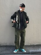 AURALEEのミリタリージャケットをセットアップ風に合わせました(^^) シンプルでクリーンなファッションが好きです。