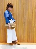 Maaakiさんの「メタルテンプルボストンメガネ(SHOO・LA・RUE シューラルー)」を使ったコーディネート