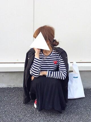 よったんさんの「Comme des Garçons 'Play' Stripe Long Sleeve Crewneck T-Shirt(Comme des Garcons|コムデギャルソン)」を使ったコーディネート