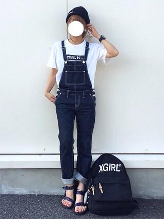 よったんさんの「COLOR LOGO KNIT CAP(X-girl|エックスガール)」を使ったコーディネート