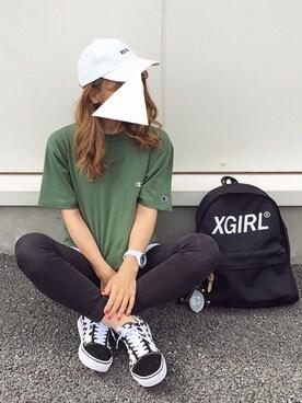 よったんさんの「CHECKERED CAP(X-girl)」を使ったコーディネート