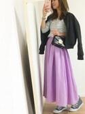 さやさんの「キレイ色ロングギャザーフレアスカート(STYLE DELI|スタイルデリ)」を使ったコーディネート