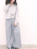 ❁︎Haru❁︎さんの「≪追加予約≫フレアープリーツロングパンツ(FEMIND TOKYO|フェマイントウキョウ)」を使ったコーディネート