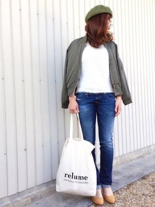 Sari☺︎mさんの「relume ショッピングトートバッグ#(JOURNAL STANDARD relume|ジャーナルスタンダード レリューム)」を使ったコーディネート