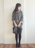 min_minさんの「Vネックカーディガン×ベルトタイトスカートセット(fifth|ランダ)」を使ったコーディネート