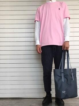 ゆうすけさんの「【ベターコットン使用】OXシャツ長袖/565301(RAGEBLUE)」を使ったコーディネート