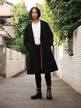 WALK IN CLOSET 代官山|手嶋 祐生さんの「LIGHT WOOL MOSSER / WIDE SILHOUTTE LONG COAT(MR.OLIVE)」を使ったコーディネート