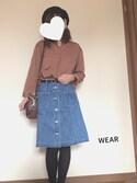 r i n aさんの「前開き台形デニムスカート(w closet ダブルクローゼット)」を使ったコーディネート