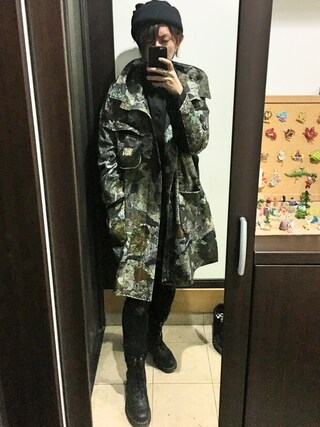 「【my beautiful landlet】  camouflage hood coat(my beautiful landlet)」 using this 寺田イス銀河 looks