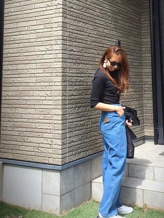 Chinatsu♡さんの「テレコハイネック5分PO(AZUL by moussy|アズールバイマウジー)」を使ったコーディネート