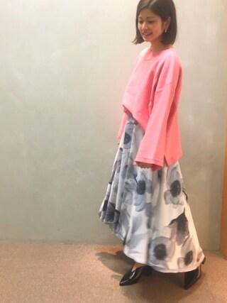 RANDA 本社|nishiさんの「シースルーアシンメトリーヘムフラワースカート(RANDA|ランダ)」を使ったコーディネート