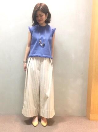 RANDA 本社|nishiさんの「フリンジバックリボントップス(RANDA|ランダ)」を使ったコーディネート