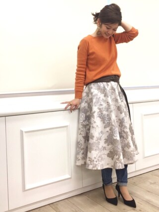 RANDA 本社|nishiさんの「フラワースカート(RANDA|ランダ)」を使ったコーディネート