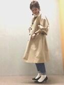 nishiさんの「ストーンウッドクリップイヤリング(RANDA|ランダ)」を使ったコーディネート