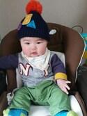 まつだ あゆみさんの「ワッペン付ベビーニット帽(BREEZE|ブリーズ)」を使ったコーディネート