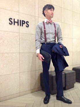 SHIPS 岡山店|萬さんの「SD: シルク/リネン メランジ ソリッド ボウタイ(SHIPS)」を使ったコーディネート