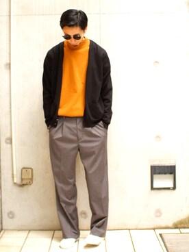 ビームス 阿倍野| SHIMIZU/BEAMS  さんのTシャツ/カットソー「【WEB限定】BEAMS / NEW STANDARD 長袖モックネックT(BEAMS|ビームス)」を使ったコーディネート