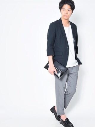 タカシ@Dコレさんの「綿麻7分袖テーラードジャケット(今日は7分袖のテーラードジャケット✨)」を使ったコーディネート