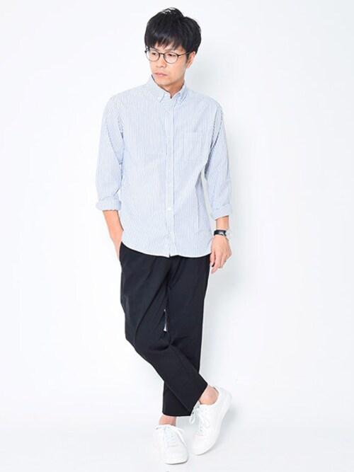 タカシ@Dコレさんの「[ BRAND ] Dcollection ストライプシャツ(商品番号:t102)」を使ったコーディネート
