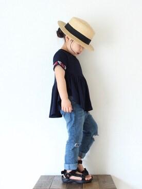 BRANSHES|teiccoさんのTシャツ/カットソー「袖刺繍入り半袖Tシャツ(BRANSHES|ブランシェス)」を使ったコーディネート