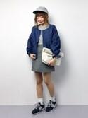 いぴさんの「リボンパフ袖ノーカラーシャンブレーデニムジップブルゾン503-0591(merlot|メルロー)」を使ったコーディネート