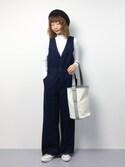 いぴさんの「両Vラインウエストゴムポケット付き裾フリンジワイドデニムオールインワン(select MOCA セレクトモカ)」を使ったコーディネート