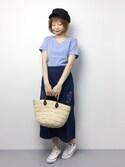 いぴさんの「刺繍ポケットデニムスカート4920(merlot|メルロー)」を使ったコーディネート
