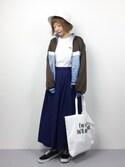 いぴさんの「ボリュームフレア立体シルエットウエスト後ろゴムロング丈スカート(select MOCA|セレクトモカ)」を使ったコーディネート