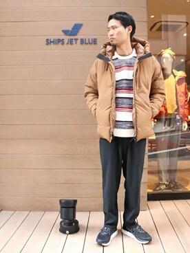 SHIPS 渋谷店 前田さんのニット/セーター「SU: BOUCLE ボーダーニット(SHIPS シップス)」を使ったコーディネート
