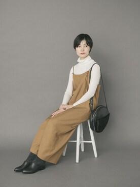 WEB事業部|erika-sanさんの「かぐれ ウォッシャブルウールハイネックTシャツ(かぐれ)」を使ったコーディネート