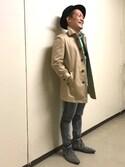 ippeiさんの「HIGH STREET∴T/Cシャンブレーステンカラーコート(HIGH STREET|ハイストリート)」を使ったコーディネート