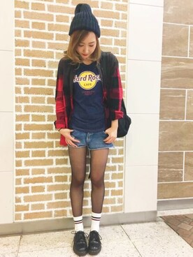 Hard Rock Cafe JAPAN|Hard Rock Cafe JAPANさんの「BOYFRIEND LOGO TEE(Hard Rock Cafe)」を使ったコーディネート