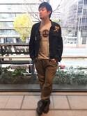 Hard Rock Cafe JAPANさんの「Grey Logo T(Hard Rock Cafe|ハードロックカフェ)」を使ったコーディネート