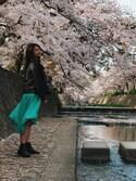 miyacoさんの「【浅見れいなさん着用】この春の大本命 リングベルト付きミディ丈フレアスカートボトムス/スカート/ロング・マキシ丈(76cm~)[リエディ](Re:EDIT|リエディ)」を使ったコーディネート