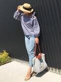 miyacoさんの「チャーム付きリボンカンカン帽(MODE ROBE モードローブ)」を使ったコーディネート