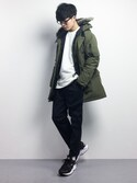 「DOWN DAVIDSON PARKA OLIVE NIGHT(Levi's)」 using this 武井一輝 looks