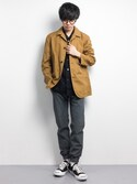 KAZ.さんの「D'sh Washed Coverall JK(URBAN RESEARCH DOORS MENS|アーバンリサーチ ドアーズ メンズ)」を使ったコーディネート