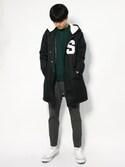 武井一輝さんの「Champion Long Coach Jacket(STUSSY|コンバース)」を使ったコーディネート