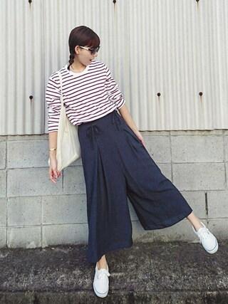「ウォッシュボーダーT(長袖)(ユニクロ)」 using this meiko looks