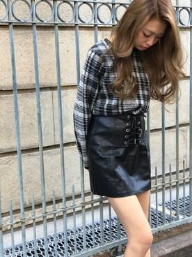 SPIGA 渋谷109店|SPIGA OFFICIALさんの「合皮アミアゲミニスカート(SPIGA)」を使ったコーディネート