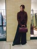 misako yanoさんの「ワイドスエードロングパンツ(RANDA|ランダ)」を使ったコーディネート