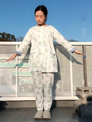 代官山アルカディア店|キッドブルーさんの「キッドブルー -天竺ハーバリウムプリント -長袖チュニックパジャマ -KNHK632 -kidblue(KID BLUE|キッドブルー)」を使ったコーディネート