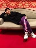 "KIKAKU is wearing MYne ""【MYne】刺繍タートルフーデットビックプルオーバー/embroidery turtle hooded big pullover"""