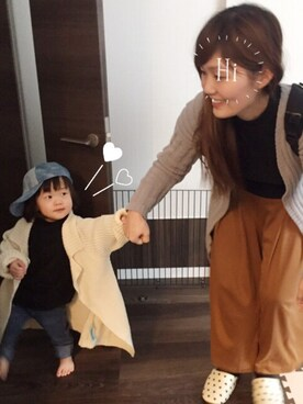 mika♡toumaさんの「ロングニットカーディガン(BRANSHES|ブランシェス)」を使ったコーディネート