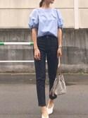 「120/2タイプライター パフスリーブブラウス_#(JOURNAL STANDARD)」 using this hito.wear looks