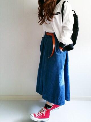 Ayumiさんの「テールカットフレアスカート(OZOC|オゾック)」を使ったコーディネート